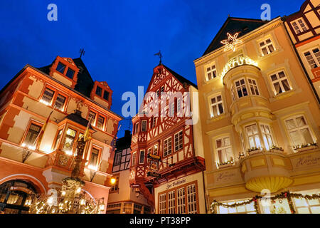 Town Hall at the market square in the Christmas time, Bernkastel-Kues, Mosel valley, Rhineland-Palatinate, Germany - Stock Photo