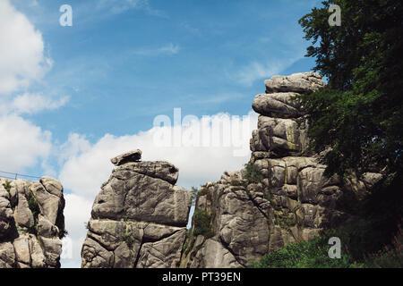 Teutoburg Forest, 'Externsteine' Rock Formation in summer - Stock Photo