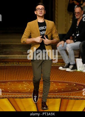 NEW YORK, NY - September 08, 2018: Designer Christian Siriano walks the runway at the Christian Siriano Spring Summer 2019 fashion show during New Yor - Stock Photo