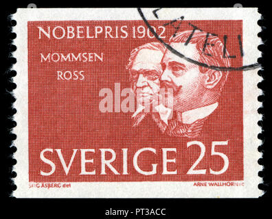 Postmarked stamp from Sweden in the Nobel Prize Winners 1902 series issued in 1962 - Stock Photo