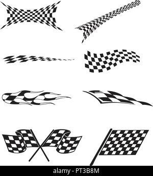 Vector of checkered racing flag splatters. - Stock Photo