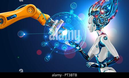 Robot with artificial intelligence takes control of factory into their hands. Robotic arm goes into the management of AI. Hud interface with icons management of industrial automation of manufacturing. - Stock Photo