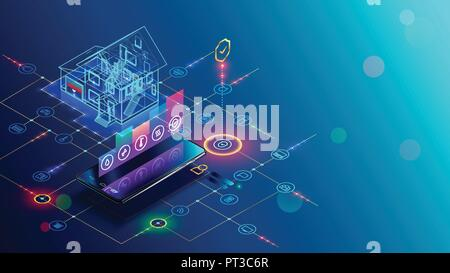 Smart home with internet of things isometric concept. IOT technology in house automation design. Smartphone for wireless control of household appliances via internet. Protection house infrastructure. - Stock Photo