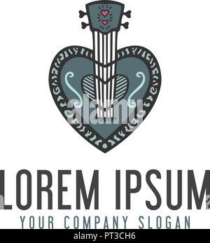 love guitar logo. hand drawn design concept template - Stock Photo