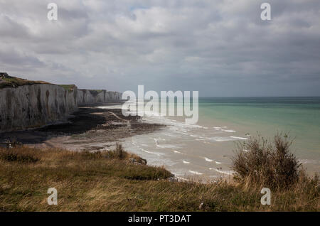 Cliffs and shoreline near Ault, Picardy, France, autumn - Stock Photo