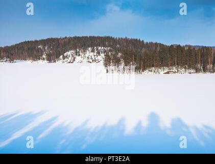 Coasts of Saimaa lake in winter. Winter landscape of Finland - Stock Photo