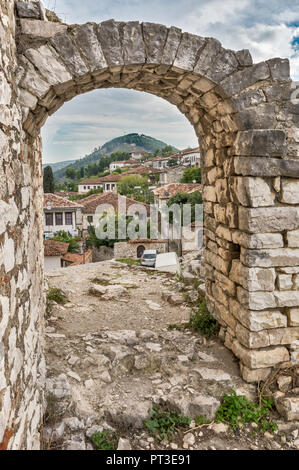 Fortifications in Main Gate area at Castle hill in Berat, UNESCO World Heritage Site, Albania - Stock Photo