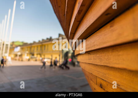 Closeup view of Kamppi Chapel showing the detail of wood used - Stock Photo
