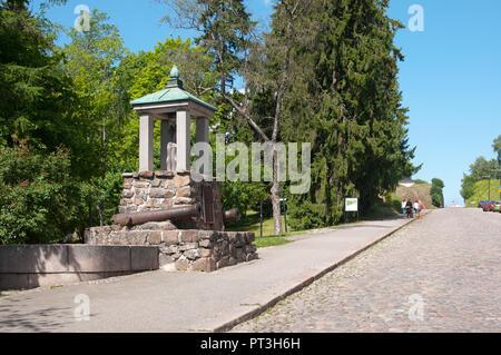 LAPPEENRANTA, FINLAND - JUNE 15, 2016: Log Monument for the battle of Villmanstrand  1741 on Kristiinankatu near Old park - Stock Photo