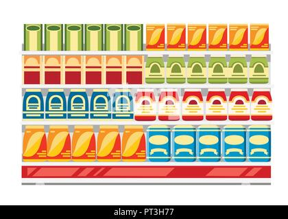 Supermarket shelves with products. Paper boxes with food. Flat vector illustration isolated on white background. - Stock Photo