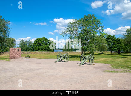 LAPPEENRANTA, FINLAND - JUNE 15, 2016: The Fortress of Lappeenranta. French 90 K/77 cannons. First World War model - Stock Photo