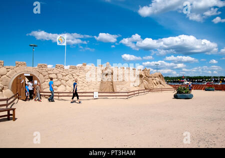 LAPPEENRANTA, FINLAND - JUNE 15, 2016: People go out from The Knight Sandcastle near Saimaa Lake - Stock Photo