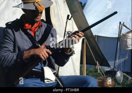 A Confederate Cavalry Officer (Reenactor) - Stock Photo