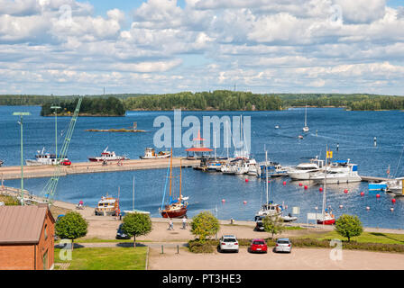 LAPPEENRANTA, FINLAND - AUGUST 8, 2016: Top view of The Saimaa Lake with boats, yachts and pavilion on the small pier. - Stock Photo