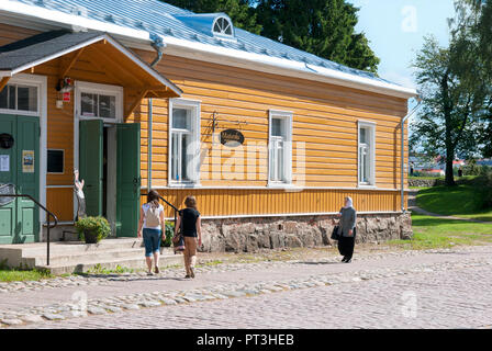 LAPPEENRANTA, FINLAND - AUGUST 8, 2016: People near Majurska Cafe in Willmanstrand Fortress last territory. House was built in the mid 18th - Stock Photo