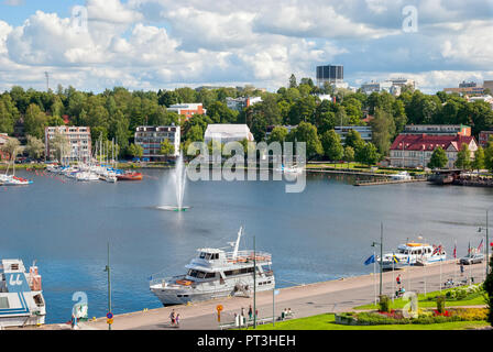 LAPPEENRANTA, FINLAND - AUGUST 8, 2016: Summer landscape with fountain and boats in Lappeenranta Harbor on Saimaa Lake. - Stock Photo