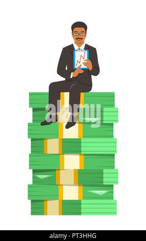 Black businessman in business suit sitting on a top of stack of paper money and showing a graph of income growth. Financial success concept. Vector fl - Stock Photo
