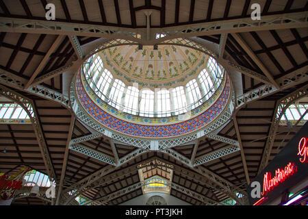 Valencia, Spain-October 16, 2017: Central city market (Mercado Central) - Stock Photo