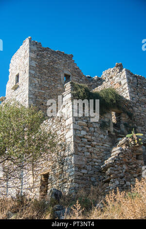 Old tower house in Mani region of Greece - Stock Photo