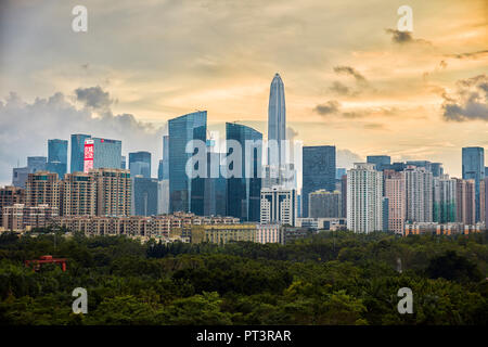 High-rise buildings in Futian District. Shenzhen, Guangdong Province, China. - Stock Photo