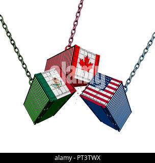 United States Mexico Canada trade agreement as the USMCA with cargo shipping containers joining together as an economic import and export deal. - Stock Photo