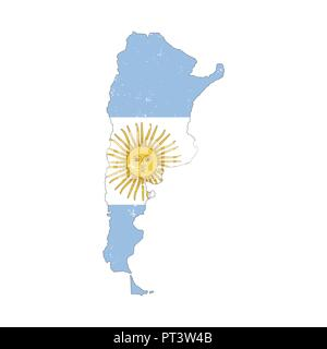 Argentina country silhouette with flag on background on white - Stock Photo