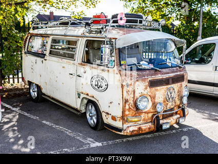 Doncaster VW Rally 23rd September 2018 at the Parklands Club and park. Classic, retro and rusty antique VW Camper van parked in a car park in Doncaste - Stock Photo