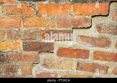 Close up of a bad repaired cracked external wall - Stock Photo