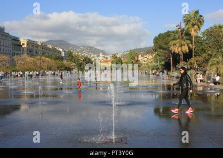 NICE, FRANCE - APRIL 22 2017: Games of water and reflection on promenade du paillon in nice, france - Stock Photo