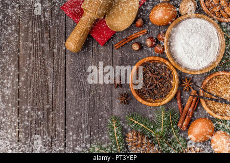 Ingredients for cooking Christmas baking. Top view with copy space. - Stock Photo