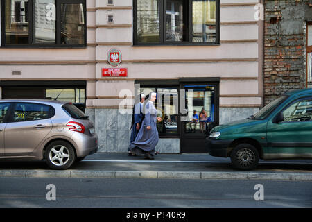 KRAKOW, POLAND - SEPTEMBER 2, 2016. Street view in Krakow, Poland. - Stock Photo