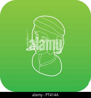 Rastafarian man wearing headband and smoking icon green vector - Stock Photo