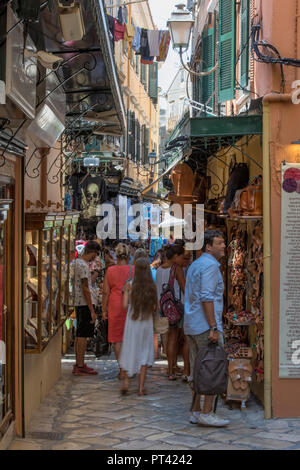 busy side street in the old town of kerkyra, corfu, greece - Stock Photo