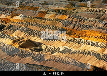 Soil layer at the soft coal opencast mining Hambach near Bergheim, Rhenish brown coal field, North Rhine-Westphalia, Germany - Stock Photo