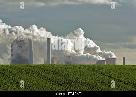 brown coal power station Niederaussem, Rhenish brown coal district, Niederaussem, North Rhine-Westphalia, Germany - Stock Photo