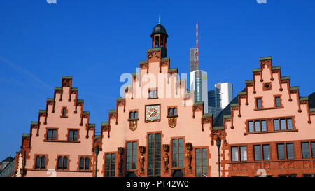 Townhall roman and Commerzbank Tower, Frankfurt, Hesse, Germany - Stock Photo
