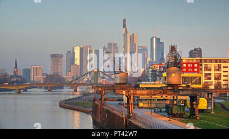 View over the Weseler shipyard on Main and Skyline, Frankfurt, Hesse, Germany - Stock Photo
