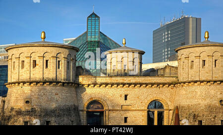 Museum Three Acorns and Museum of Modern Art Mudam Grand-Duc Jean on the Kirchberg Plateau, Luxembourg City, Luxembourg, - Stock Photo