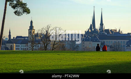 View from the Kirchberg Plateau to the old town, Luxembourg City, Luxembourg - Stock Photo