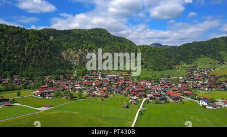 View on Reit im Winkl, Traunstein district, Chiemgau, Upper Bavaria, Bavaria, Germany - Stock Photo