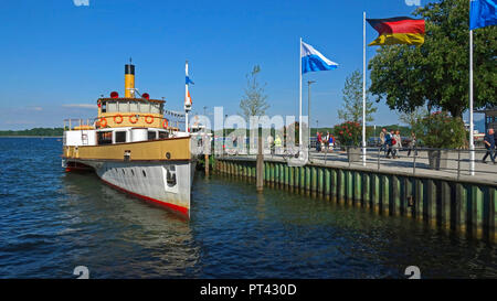 Steamer at the pier in Prien am Chiemsee, Chiemgau, Upper Bavaria, Bavaria, Germany - Stock Photo