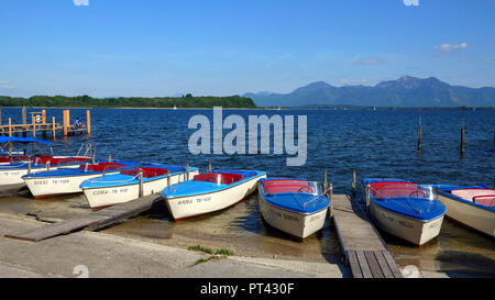 View of Chiemsee in front of the Alpin chain, near Prien, Chiemgau, Upper Bavaria, Bavaria, Germany, aerial view - Stock Photo
