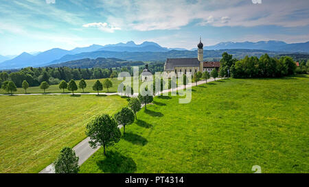Pilgrimage church Wilparting am Irschenberg, Voralpenland, Upper Bavaria, Bavaria, Germany - Stock Photo