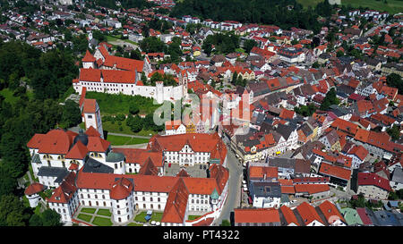 View on old town with monastery Saint Mang and High Castle, Füssen, Allgäu, Swabia, Bavaria, Germany - Stock Photo