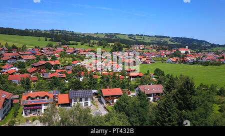 View on Wertach, Ostallgäu, Allgäu, Swabia, Bavaria, Germany - Stock Photo