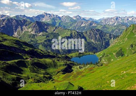 Seealpsee on the Nebelhorn and Allgäu Alps, Oberstdorf, Allgäu, Swabia, Bavaria, Germany - Stock Photo