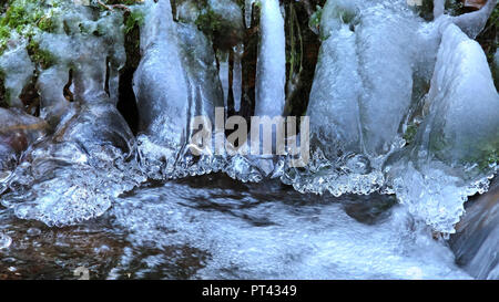 Ice formation on a small forest stream, Wenichbach in the Tabener jungle, Taben-Rodt, Saar Valley, Rhineland-Palatinate - Stock Photo