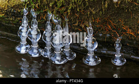 Ice formation on a small forest stream, Wenichbach in the Tabener jungle, Taben-Rodt, Saar Valley, Rhineland-Palatinate, Germany - Stock Photo