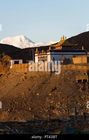 Mapham Yutso, Manasarowar Lake, Chiu Monastery in Tibet, - Stock Photo