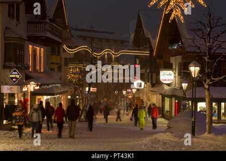 Village view in winter at night, St. Anton am Arlberg, Tyrol, Austria. - Stock Photo